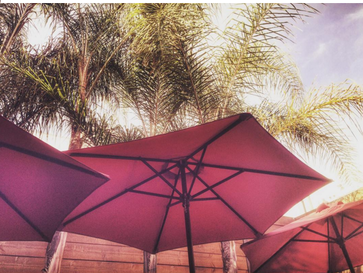 Sunny Patio with Umbrellas for Shade